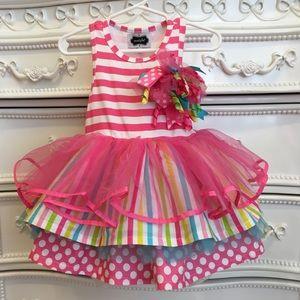 RaRe MUD PIE Ruffle Tulle Birthday Dress 12-18m
